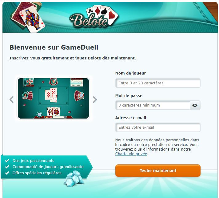 s'inscrire gameduell